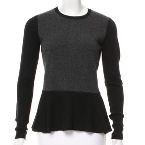 Cashmere Fitted Peplum Sweater with back zipper